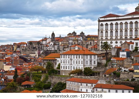 view of Douro river at Porto, Portugal - stock photo