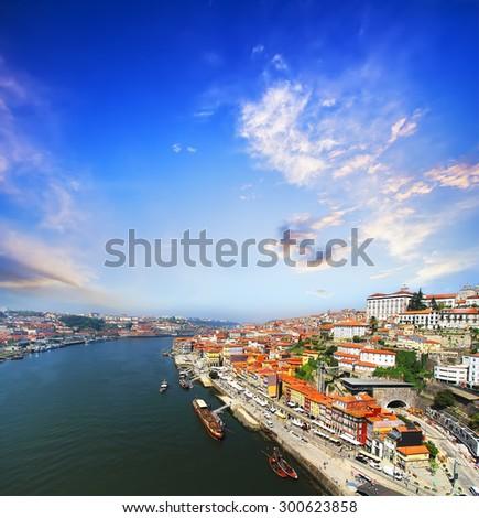 view of Douro riverside from the Dom Luiz bridge , Porto , Portugal. Colorful Travel background - stock photo