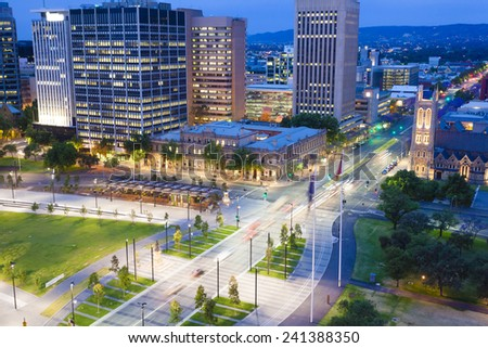 View of downtown area in Adelaide, South Australia, at twilight - stock photo
