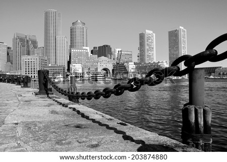 View of Downtown Boston along the harborwalk in the Seaport. - stock photo