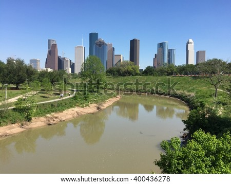 View of downtown city of Houston - stock photo