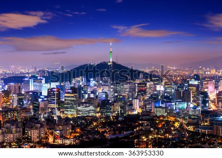View of downtown cityscape and Seoul tower in Seoul, South Korea. - stock photo