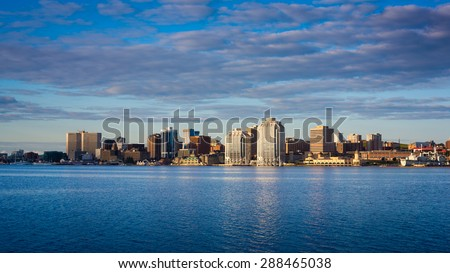 View of downtown Halifax from Dartmouth with the waterfront and the Purdy's Wharf. Halifax, Nova Scotia, Canada. - stock photo