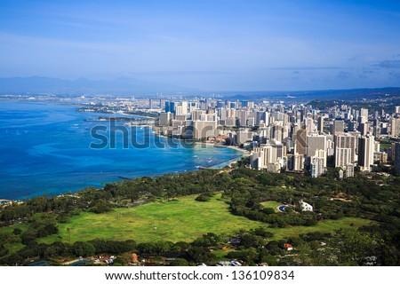 View of downtown Honolulu and Waikiki from Diamond Head Crater Summit, Hawaii - stock photo