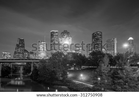 View of downtown Houston at twilight with skyscraper - stock photo