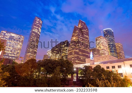 View of downtown Houston,Texas at twilight with skyscraper