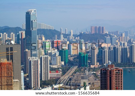 View of Downtown Kowloon Hongkong from Tsuen Wan