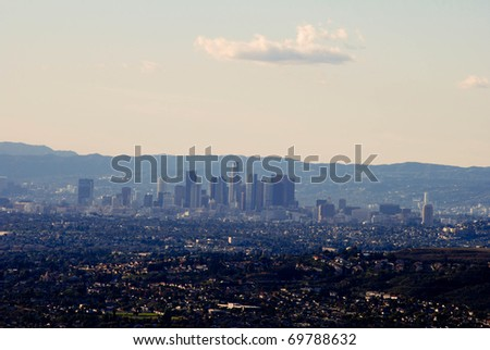 View of downtown Los Angeles after a winter rain