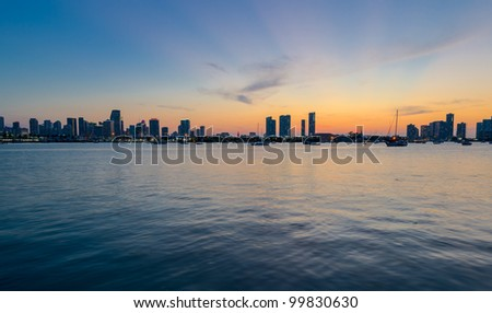 View of downtown Miami from the water at sunset - stock photo