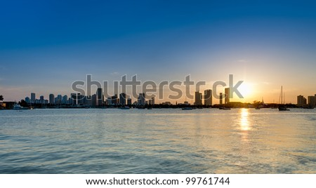 View of downtown Miami from the water in Biscayne Bay