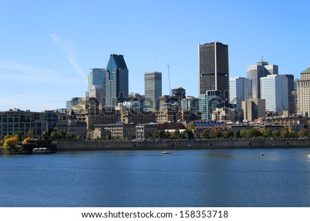 View of downtown Montreal, Quebec, Canada from across the St. Lawrence River - stock photo