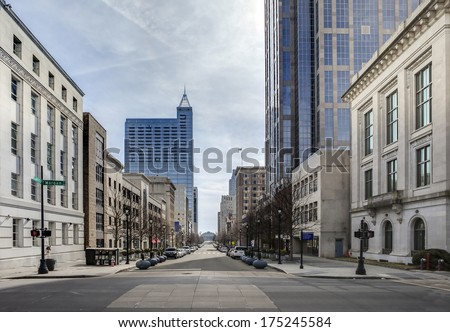 view of downtown raleigh, north carolina from street level, hdr image - stock photo