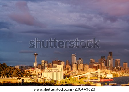 View of Downtown Seattle from Ursula Judkins Park - stock photo