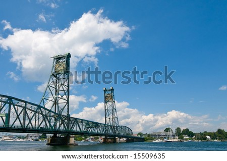 View of drawbridge over the Piscataqua River, between Portsmouth NH and Kittery ME, USA - stock photo