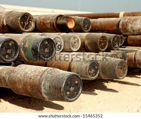 view of drill pipe from the side - stock photo
