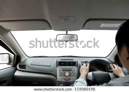 view of driving a vehicle.  - stock photo