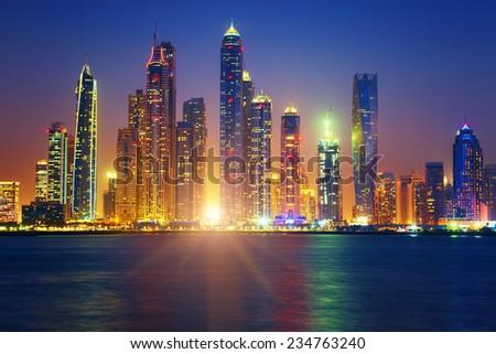 view of Dubai sunrise, UAE - stock photo