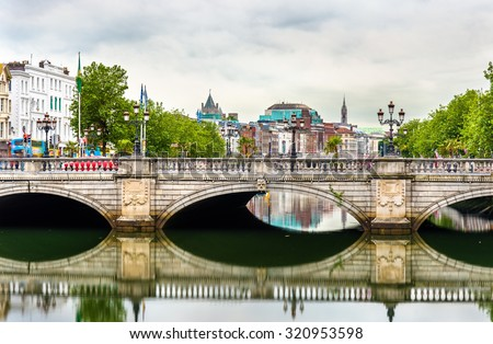 View of Dublin with the O'Connell Bridge - Ireland - stock photo