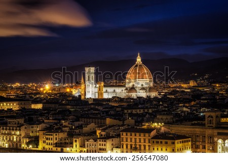 View of Duomo from Michaelangelo Plaza in Florence, Italy.