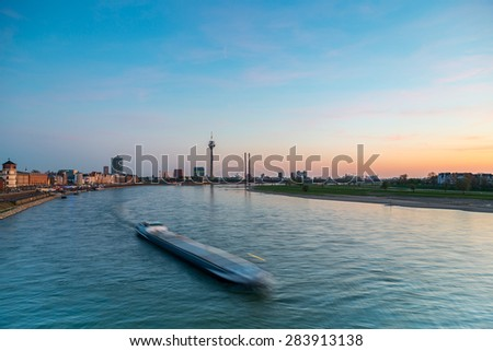 view of Dusseldorf at sunset at the rhine river, germany - stock photo