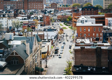 View of Eager Street, in Mount Vernon, Baltimore, Maryland. - stock photo