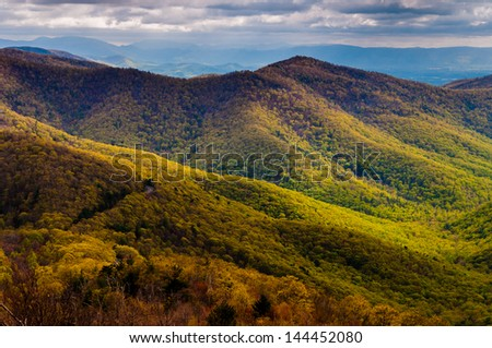 View of early spring color in the Blue Ridge, from Blackrock Summit along the Appalachian Trail in Shenandoah National Park, Virginia. - stock photo