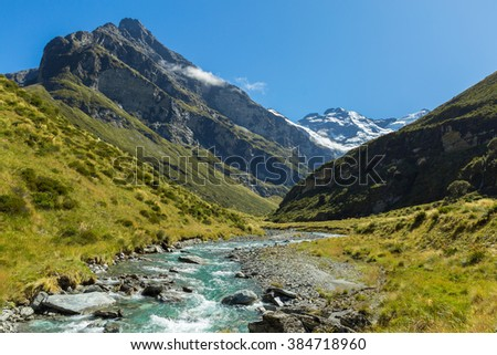 view of Earnslaw Burn Track in Glenorchy, New Zealand - stock photo