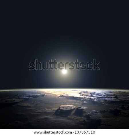 View of earth and sun from space orbit. Elements of this image furnished by NASA - stock photo