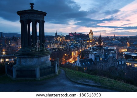 View of Edinburgh at dusk from Calton Hill - stock photo