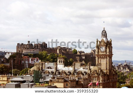 View of Edinburgh castle from Calton Hill. - stock photo