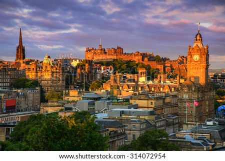 View of Edinburgh castle from Calton Hill, Edinburgh, Scotland. - stock photo