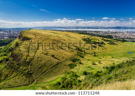 View of Edinburgh from the top of Arthur Seats - stock photo