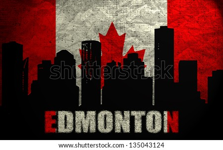 View of  Edmonton on the Grunge Canadian Flag - stock photo