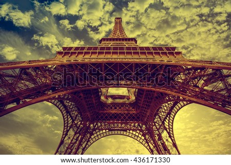 View of Eiffel tower and river in vintage filtered style - stock photo