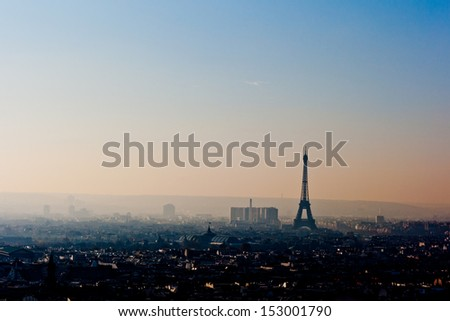 View of Eiffel Tower from the top of Sacre Coeur Basilica in Paris France