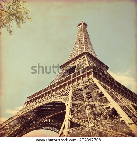 View of Eiffel Tower.Old style photo. - stock photo