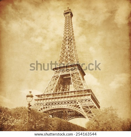 View of Eiffel Tower.Paris.Old style photo. - stock photo