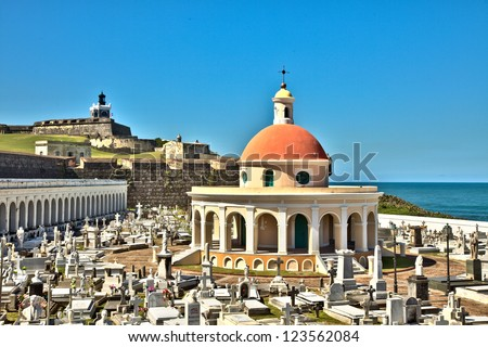 View of El Morro Fortress from cemetery in Old San Juan - stock photo