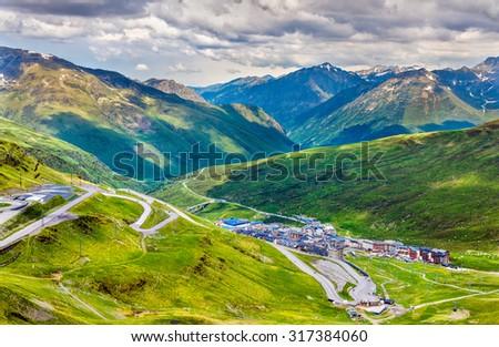 View of El Pas de la Casa from a mountain - Andorra - stock photo
