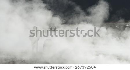 View of El Tatio geyser, San Pedro de Atacama, El Loa Province, Antofagasta Region, Chile - stock photo