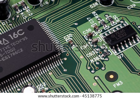 View of electronic circuit - stock photo