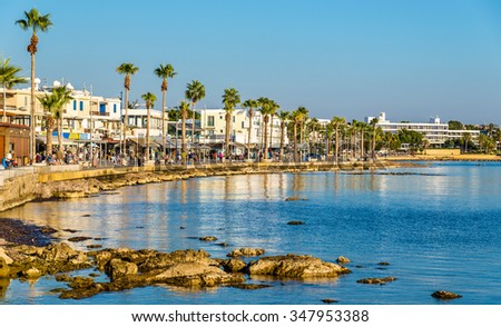 View of embankment at Paphos Harbour - Cyprus - stock photo