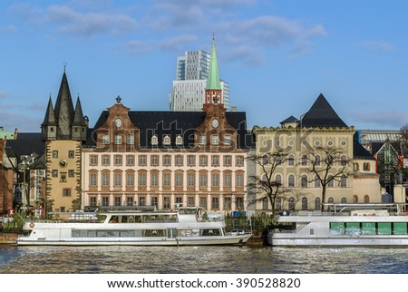 view of embankment of Main in Frankfurt old town, Germany