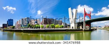 view of embankment of river Nervion O de Bilbao, district Uribitarte, Bilbao, Spain - stock photo