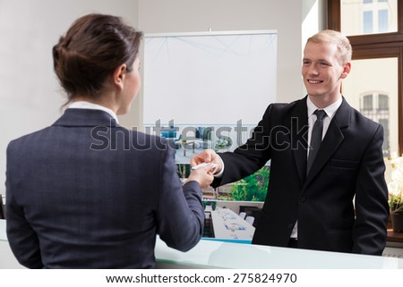 View of employees in the business centre - stock photo