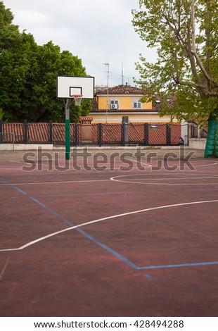 View of empty basket playground in Trieste - stock photo