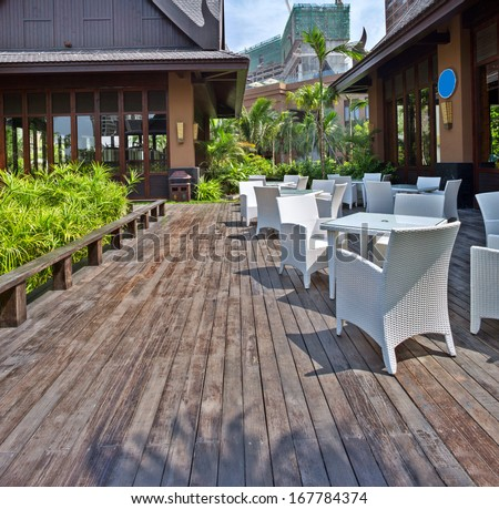 View of empty outdoor cafe