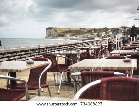 View of Empty Restaurant in Coast Town in Normandy in Autumn