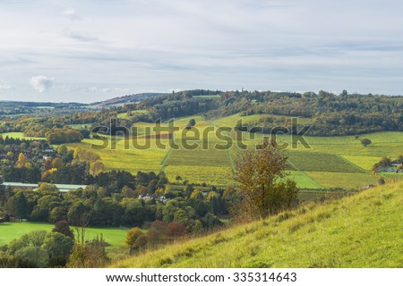 View of English countryside in the fall colors, North Downs in Surrey