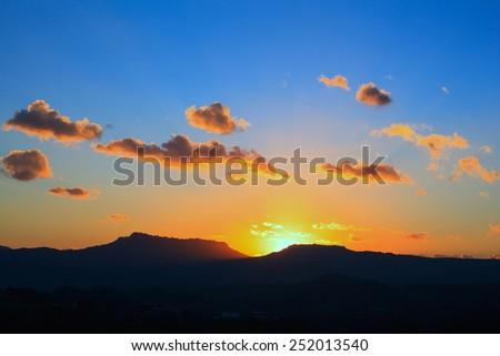 View of Enna and Calascibetta skyline at sunset - stock photo